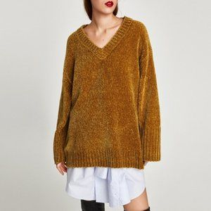 Zara Knit Oversized Mustard Chenille Sweater V-Neck Tunic Medium M